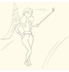 Selfie girl photo vector