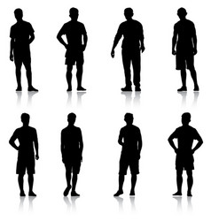 set black silhouette man standing people on white vector image vector image