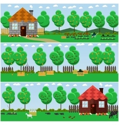 Set of countryside concept backgrounds with vector
