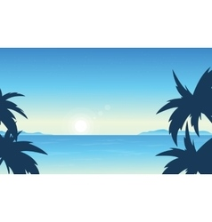Silhouette of beach beautiful scenery vector image