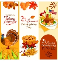 Thanksgiving day dinner invitation banners vector