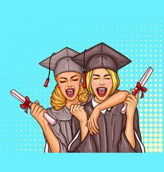 two pop art excited girls graduate student in a vector image