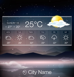 Weather Widget with landscape background vector image