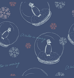 winter is coming penguin in ball seamless vector image vector image