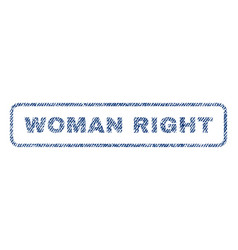 woman right textile stamp vector image vector image