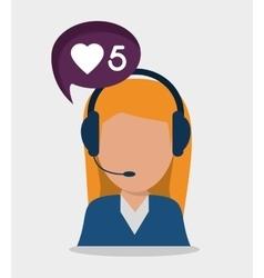 Woman headphone avatar call center design vector