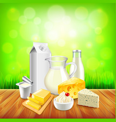Dairy products on wooden table green grass vector