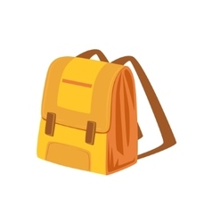 Yellow and beige school backpack item from baggage vector