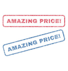 Amazing price exclamation textile stamps vector