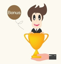 Businessman happy get money bonus vector