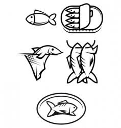 fish food symbols vector image