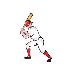 Baseball player bat side isolated cartoon vector