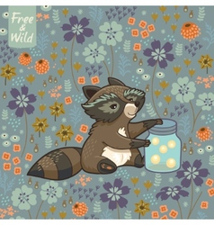 Funny little raccoon collects crickets vector image