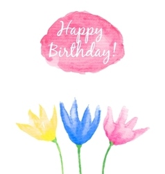 Floral happy birthday card vector