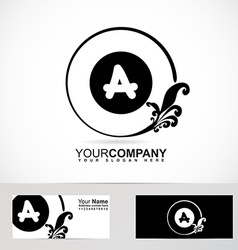 Letter a floral logo black and white vector