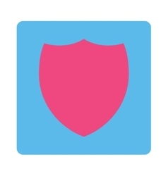 Shield flat pink and blue colors rounded button vector