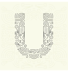 Letter u golden monogram design element vector