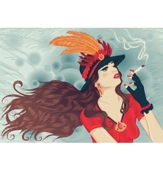 Retro girl in hat with feathers smoking cigarette vector