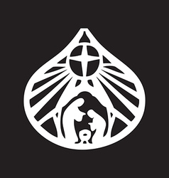 Holy family christian silhouette icon on black vector