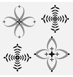 Laurel wreath tattoo set cross stylized ornaments vector