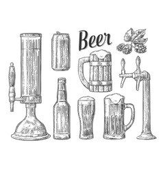 Beer class can bottle barrel Vintage vector image
