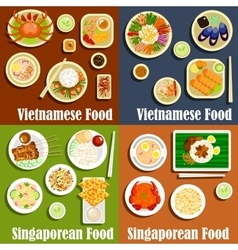Vietnamese and singaporean cuisine dishes vector image