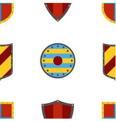 Ancient shields pattern heraldic shields in flat vector