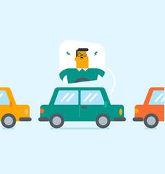 Angry caucasian man in car stuck in traffic jam vector