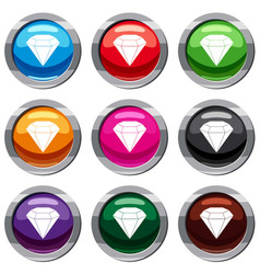 brilliant gemstone set 9 collection vector image vector image