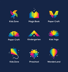 Colorful icons set on dark blue background vector