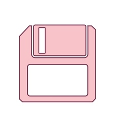 Contour floppy disk computer in light ping vector