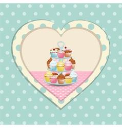 Cupcake stand and polka dot heart vector