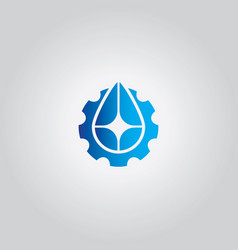 Droplet gear water logo vector