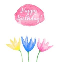 Floral Happy Birthday card vector image