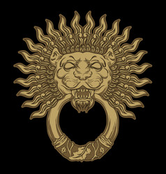 golden lion head on black background door vector image vector image