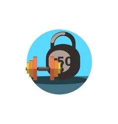 Gym weights round sticker vector