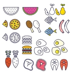 Line style food icons vector image vector image