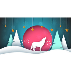 lone wolf howls to the moon merry christmas vector image