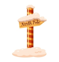 North pole sign icon cartoon style vector