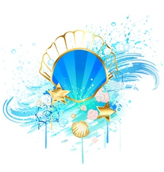 precious blue seashell vector image vector image