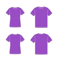 Purple short sleeve t-shirts templates vector image