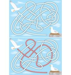 seagull maze vector image vector image