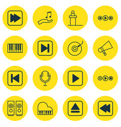 Set of 16 audio icons includes piano start song vector