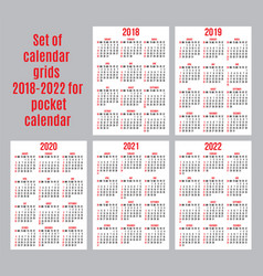 Set of calendar grid for years 2018-2022 for vector