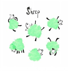 Set of the green sheep vector