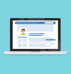 social media profile page vector image vector image