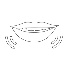 Speaking mouth icon in outline style isolated on vector