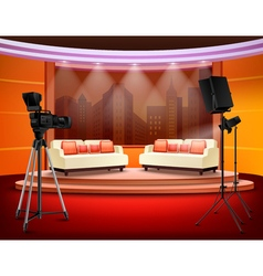Talk show studio interior vector