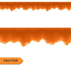 Toffee Caramel Drips Seamless Border vector image