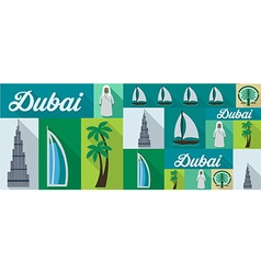 Travel and tourism icons dubai vector